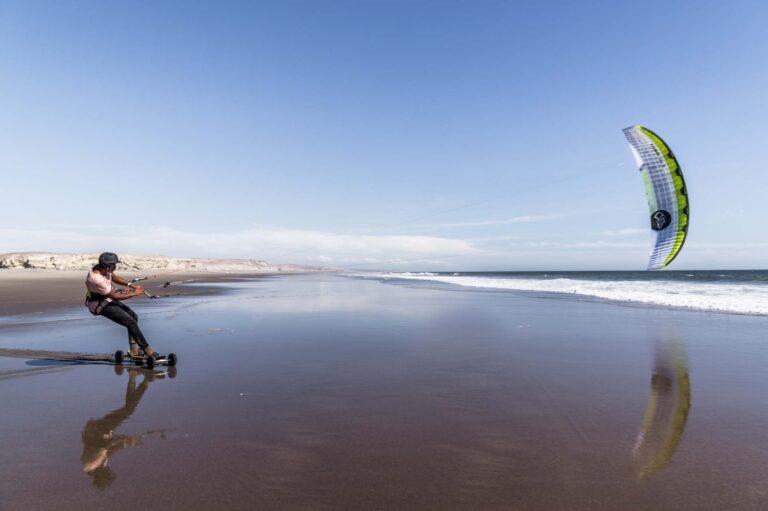 Landkiten funktioniert auch am Strand