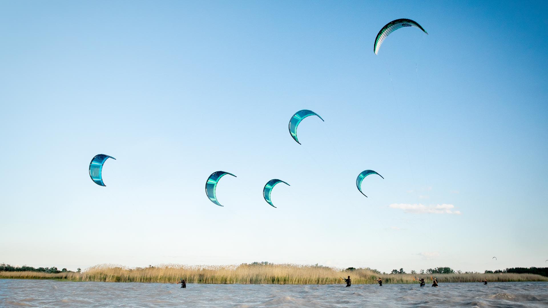 Sechs Kitesurfer stehen mit Kites in der Luft vor einer Schilfinsel