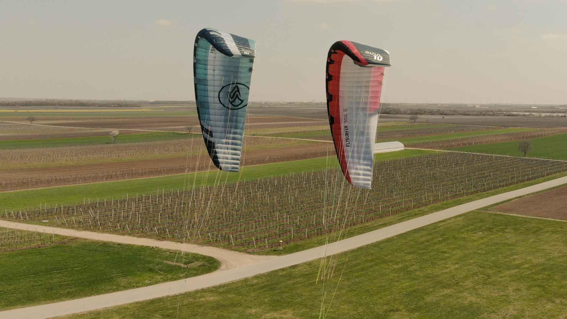 Drohnenaufnahme Flysurfer Soul 1 und Flysurfer Soul 2